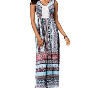 Style & Co Crocheted Maxi Dress Wonderful Maze
